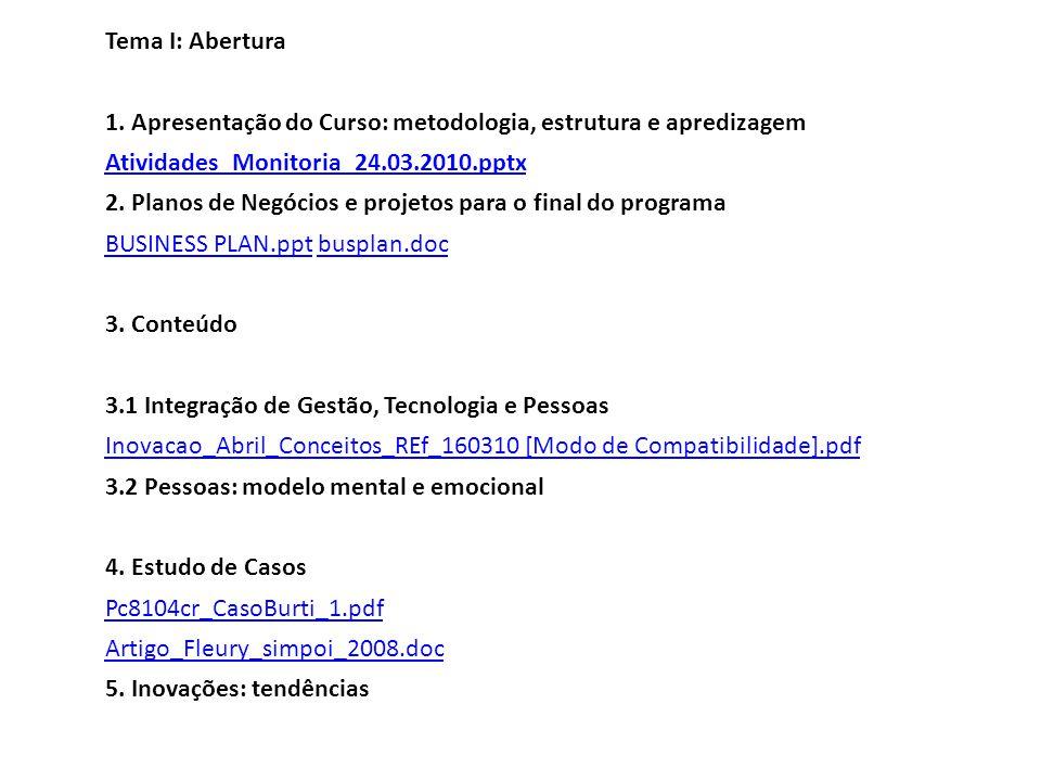 Tema I: Abertura 1. Apresentação do Curso: metodologia, estrutura e apredizagem. Atividades_Monitoria_24.03.2010.pptx.