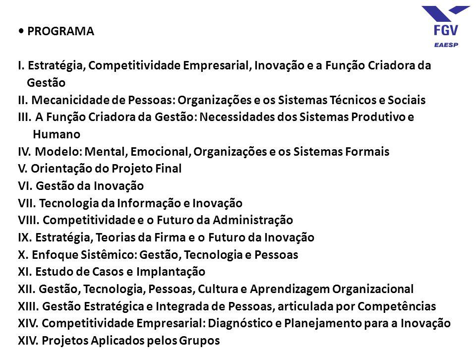 • PROGRAMA I. Estratégia, Competitividade Empresarial, Inovação e a Função Criadora da Gestão.