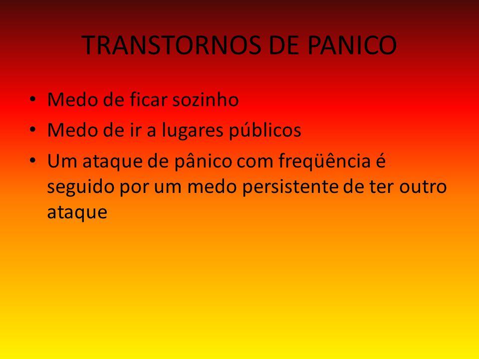 TRANSTORNOS DE PANICO Medo de ficar sozinho