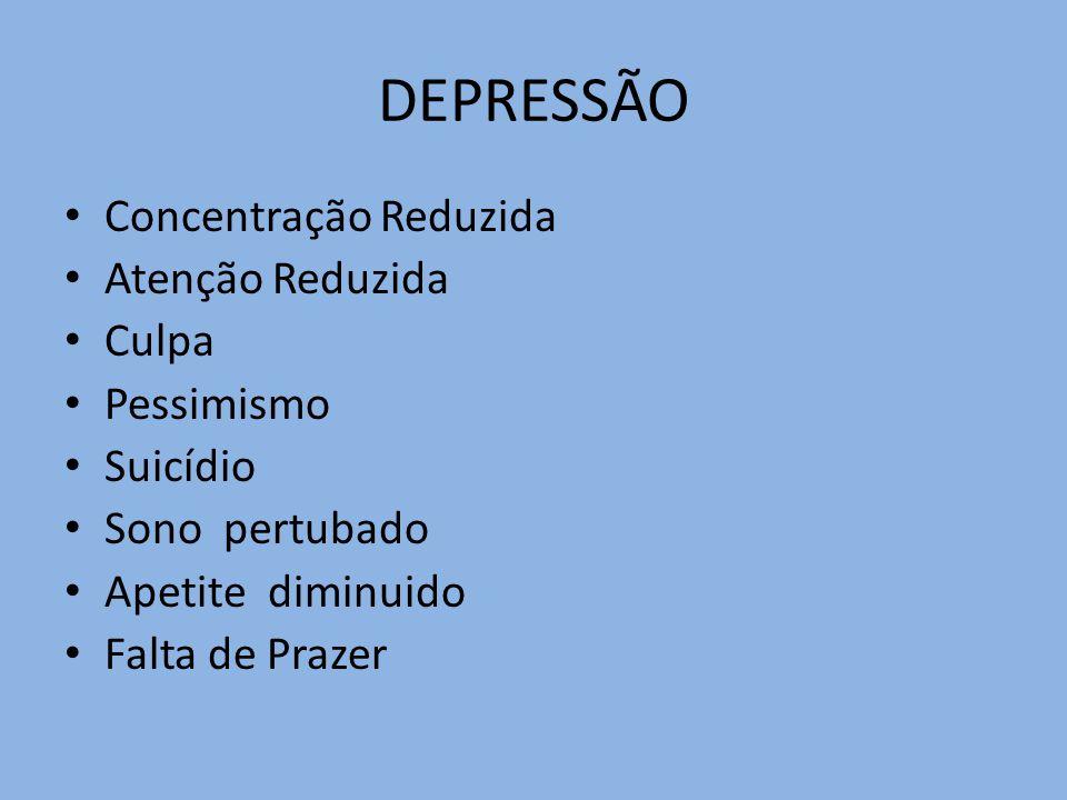 DEPRESSÃO Concentração Reduzida Atenção Reduzida Culpa Pessimismo