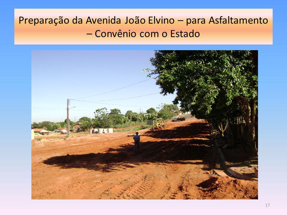 Preparação da Avenida João Elvino – para Asfaltamento – Convênio com o Estado