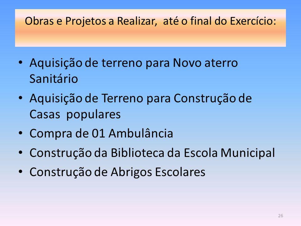 Obras e Projetos a Realizar, até o final do Exercício: