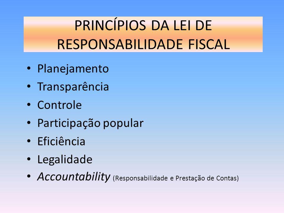 PRINCÍPIOS DA LEI DE RESPONSABILIDADE FISCAL