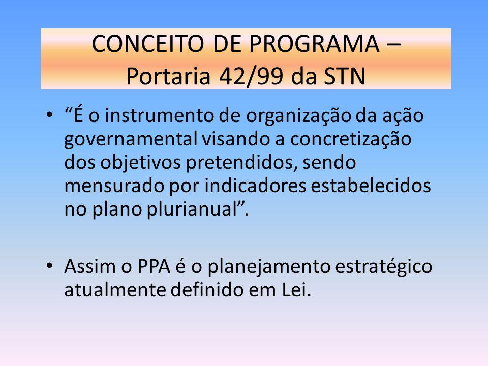 CONCEITO DE PROGRAMA – Portaria 42/99 da STN