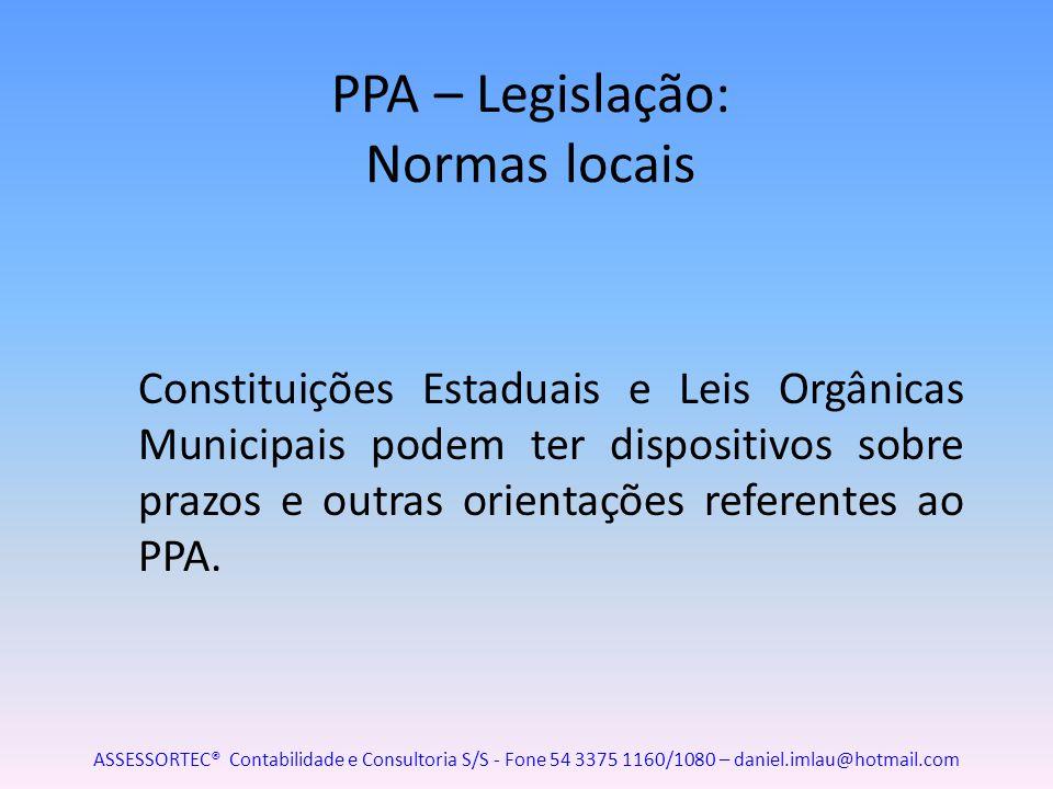 PPA – Legislação: Normas locais