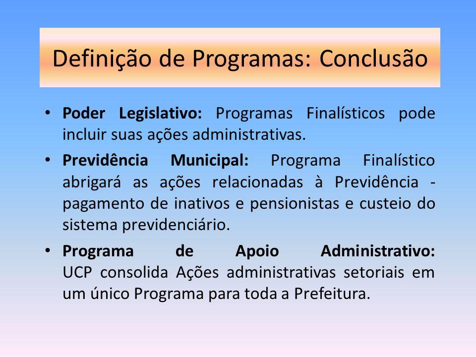 Definição de Programas: Conclusão