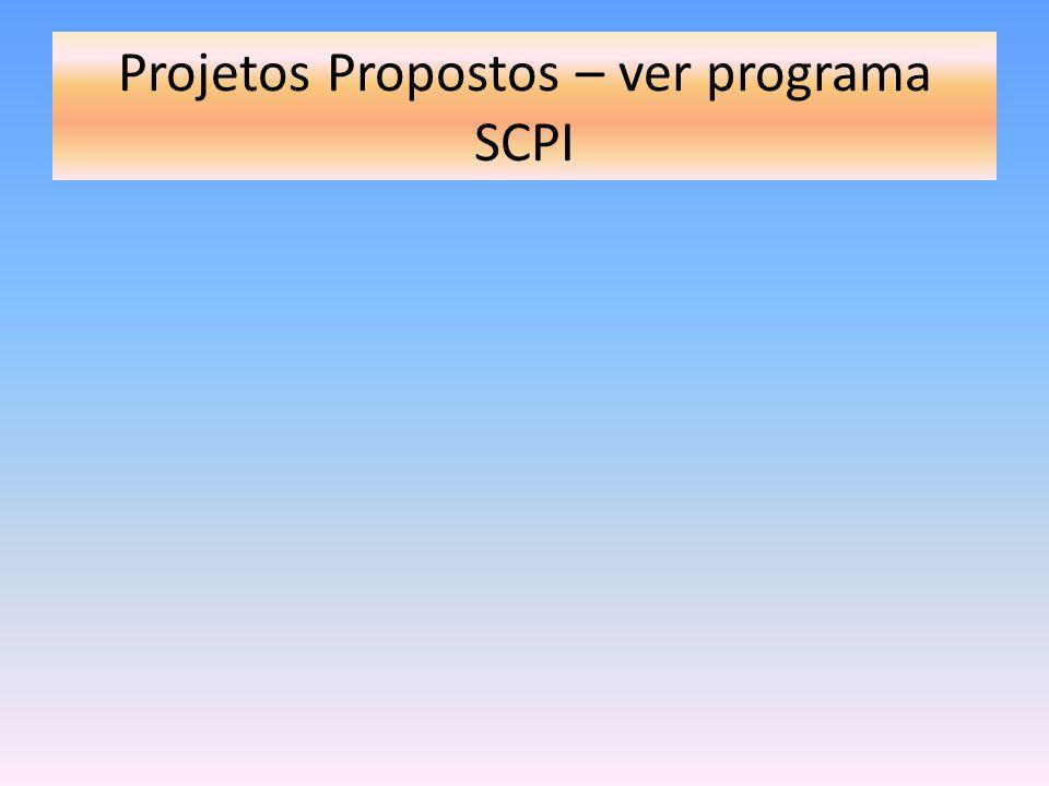 Projetos Propostos – ver programa SCPI