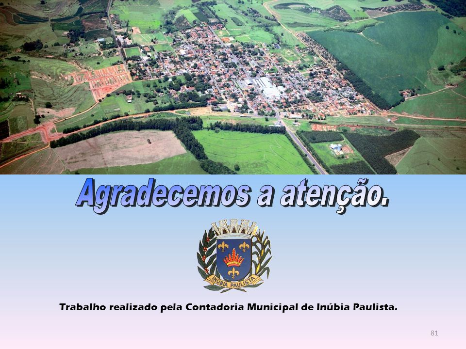 Agradecemos a atenção. Trabalho realizado pela Contadoria Municipal de Inúbia Paulista.