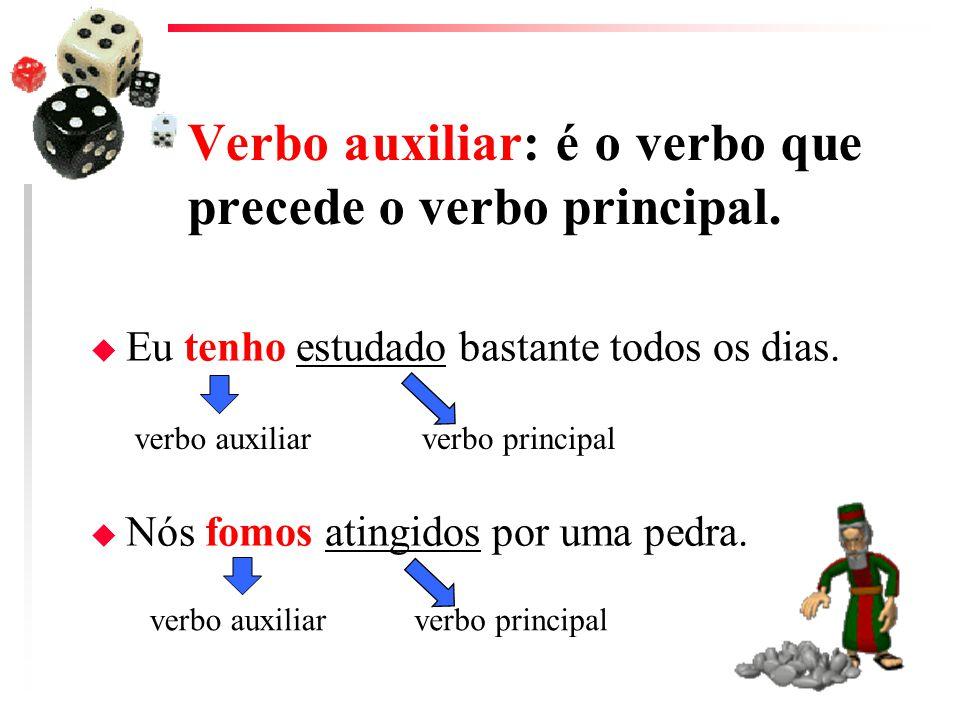 Verbo auxiliar: é o verbo que precede o verbo principal.