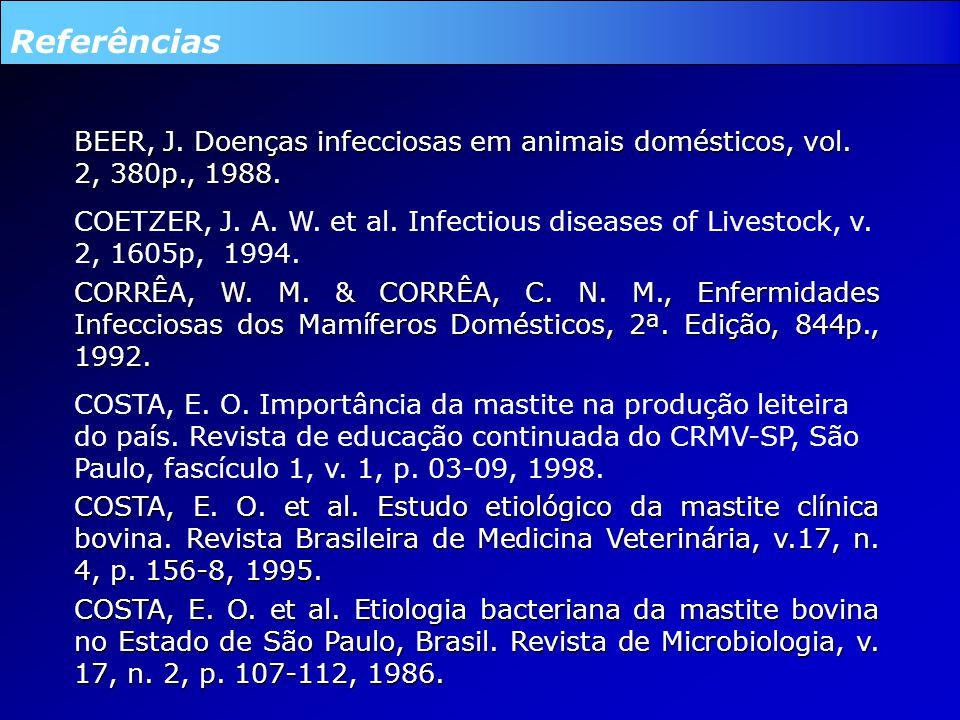 Referências BEER, J. Doenças infecciosas em animais domésticos, vol. 2, 380p., 1988.