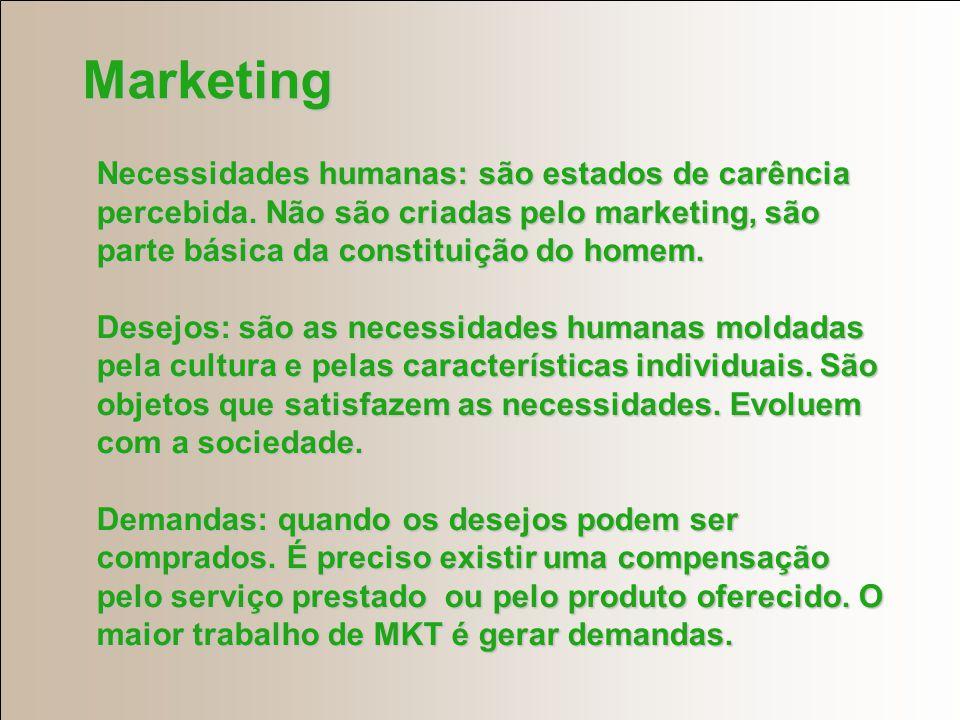 Marketing Necessidades humanas: são estados de carência percebida. Não são criadas pelo marketing, são parte básica da constituição do homem.
