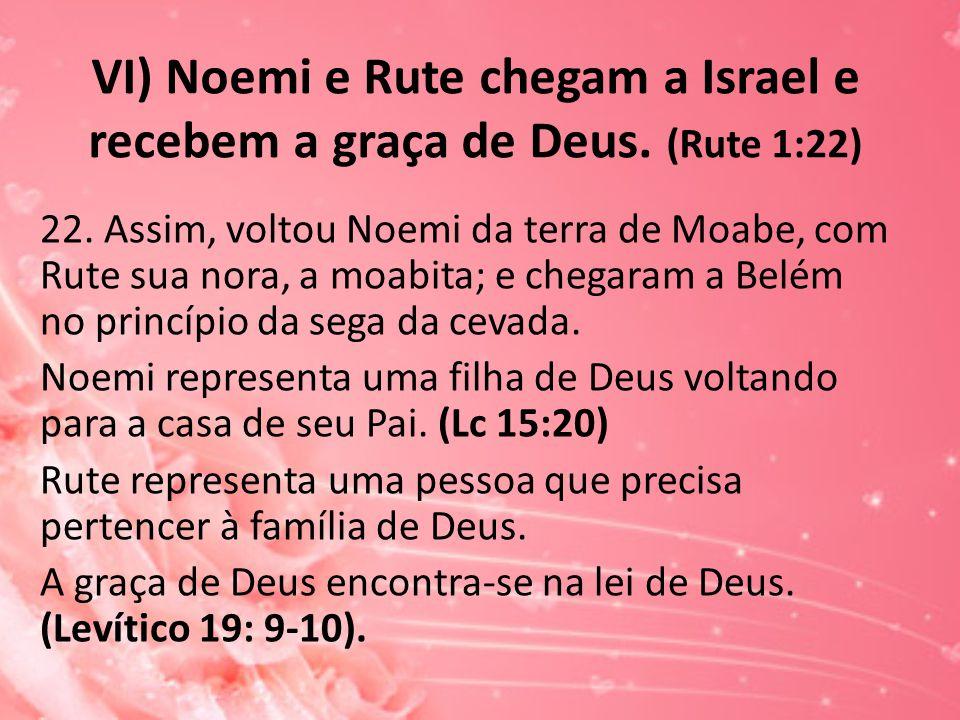 VI) Noemi e Rute chegam a Israel e recebem a graça de Deus. (Rute 1:22)