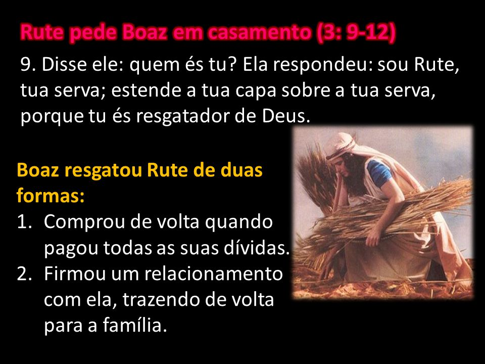 Rute pede Boaz em casamento (3: 9-12)