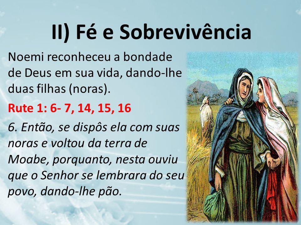 II) Fé e Sobrevivência Noemi reconheceu a bondade de Deus em sua vida, dando-lhe duas filhas (noras).