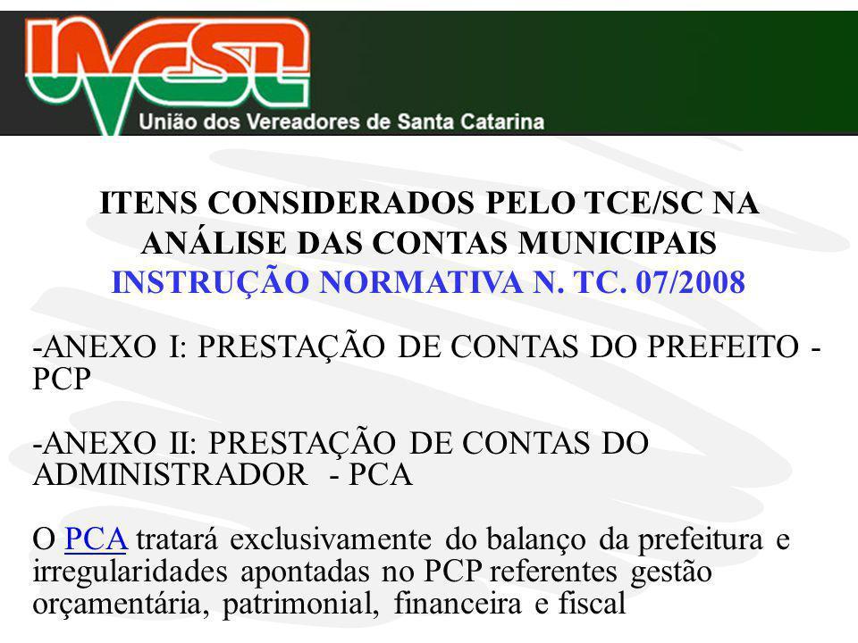ITENS CONSIDERADOS PELO TCE/SC NA ANÁLISE DAS CONTAS MUNICIPAIS