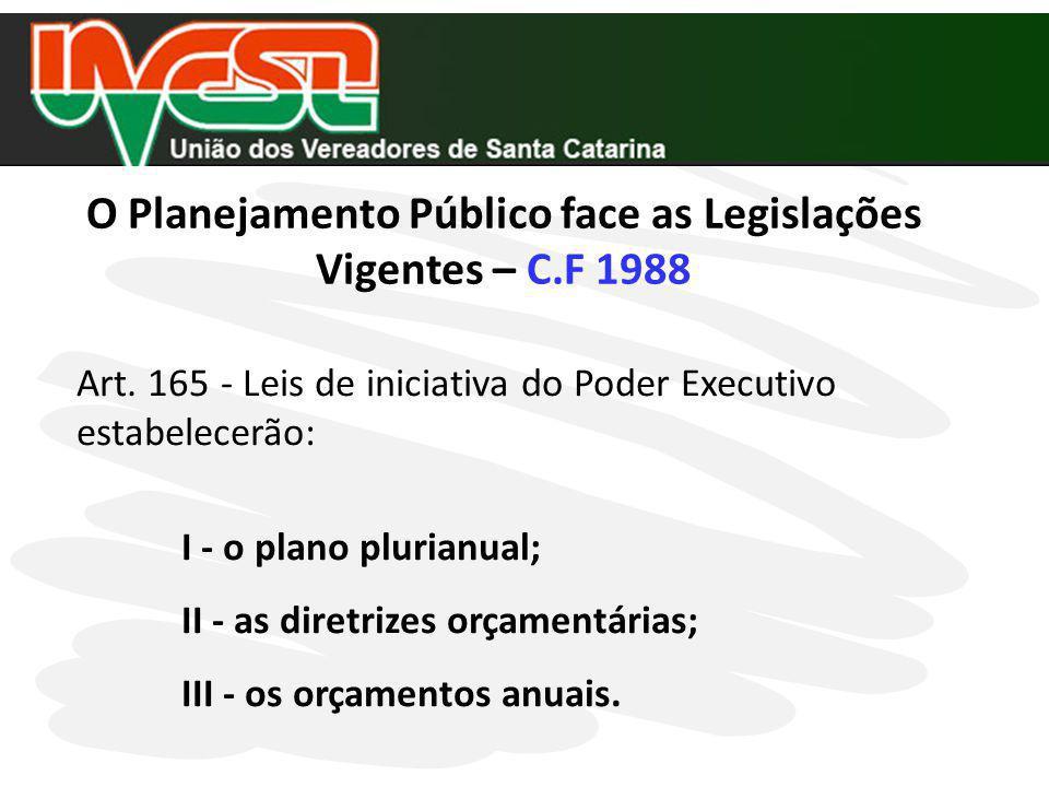 O Planejamento Público face as Legislações Vigentes – C.F 1988
