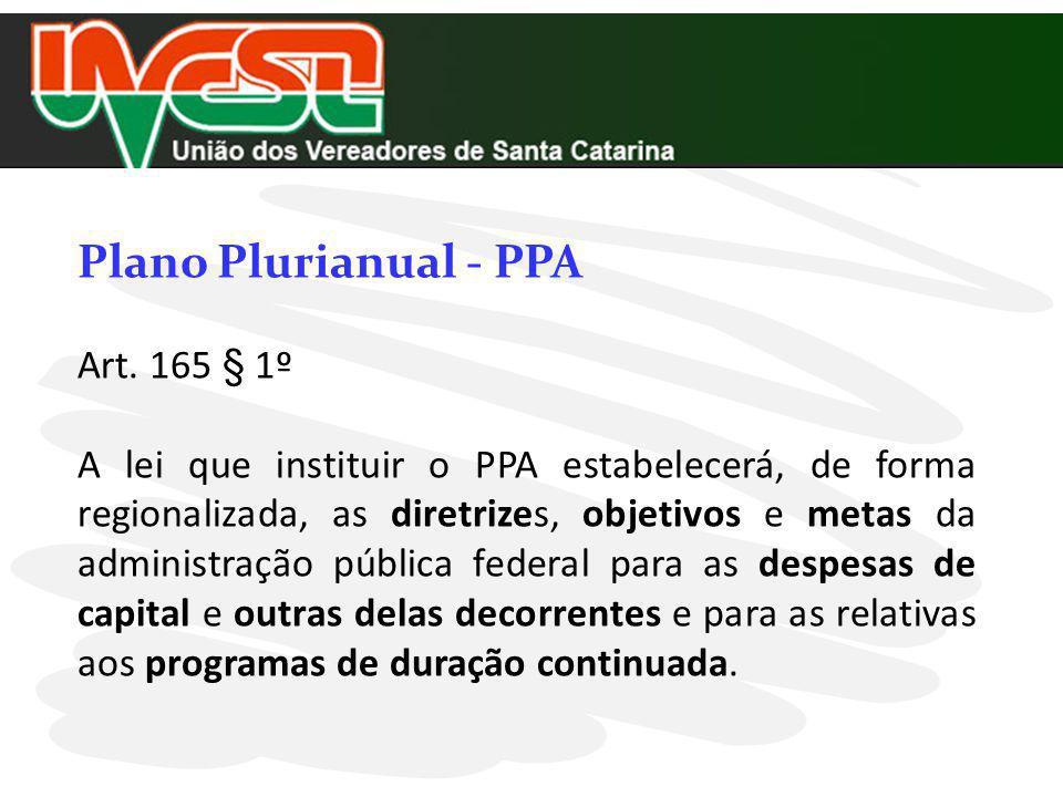 Plano Plurianual - PPA Art. 165 § 1º