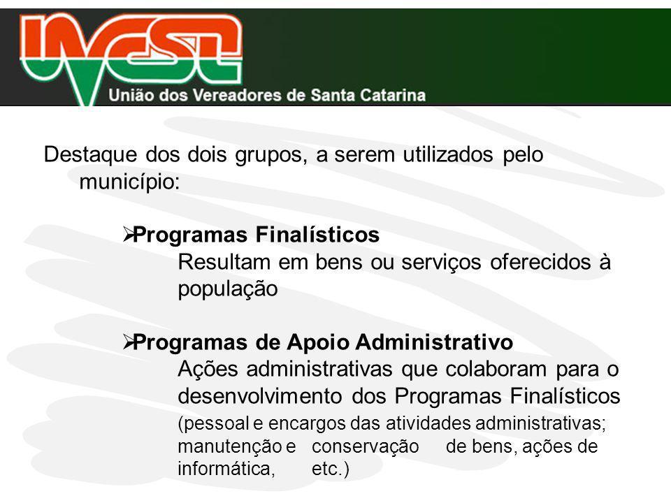 Destaque dos dois grupos, a serem utilizados pelo município:
