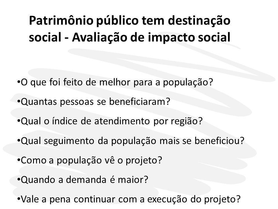 Patrimônio público tem destinação social - Avaliação de impacto social