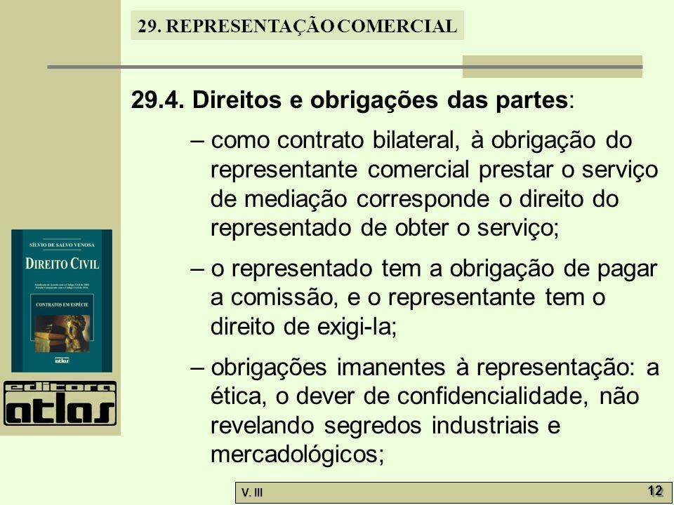 29.4. Direitos e obrigações das partes: