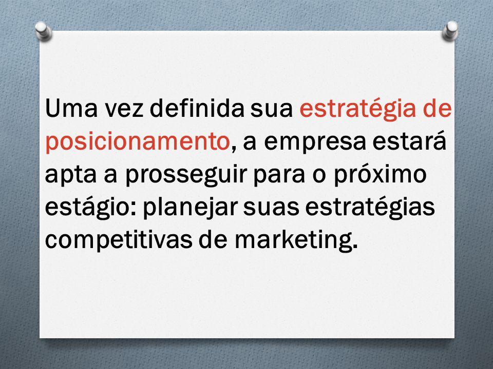 Uma vez definida sua estratégia de posicionamento, a empresa estará apta a prosseguir para o próximo estágio: planejar suas estratégias competitivas de marketing.