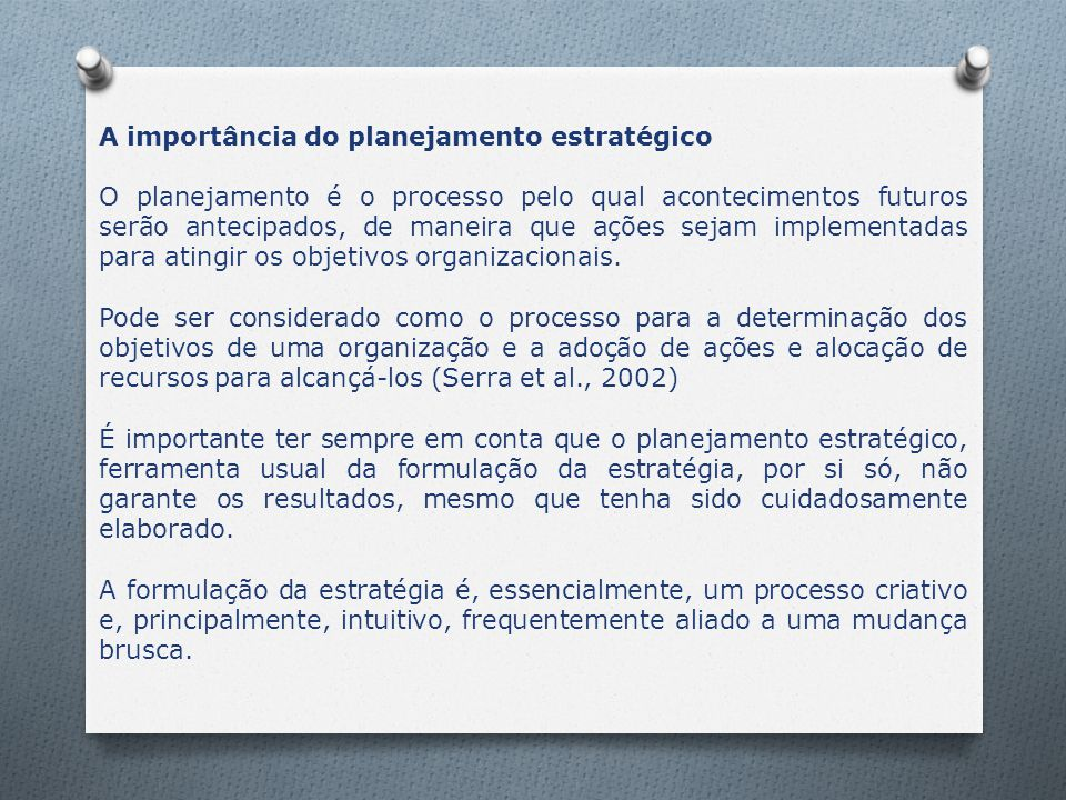 A importância do planejamento estratégico