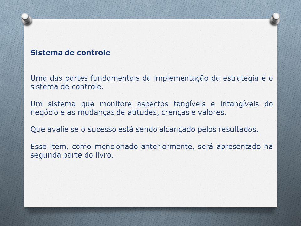 Sistema de controle Uma das partes fundamentais da implementação da estratégia é o sistema de controle.