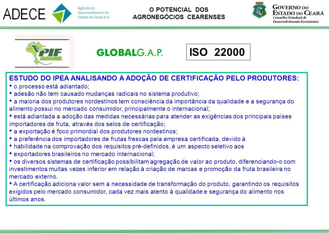 ISO 22000 ESTUDO DO IPEA ANALISANDO A ADOÇÃO DE CERTIFICAÇÃO PELO PRODUTORES: o processo está adiantado;