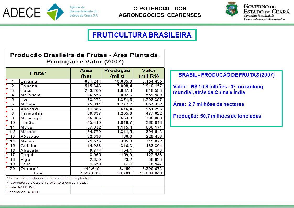 FRUTICULTURA BRASILEIRA BRASIL - PRODUÇÃO DE FRUTAS (2007)