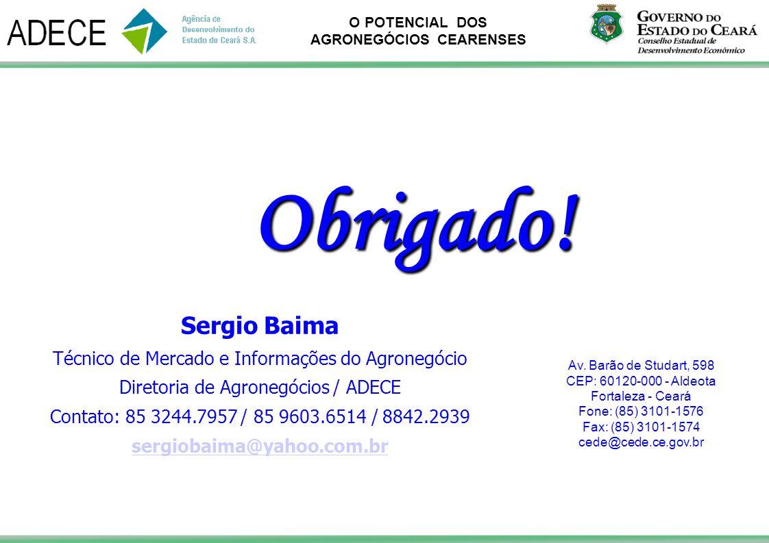 Obrigado! Sergio Baima Técnico de Mercado e Informações do Agronegócio