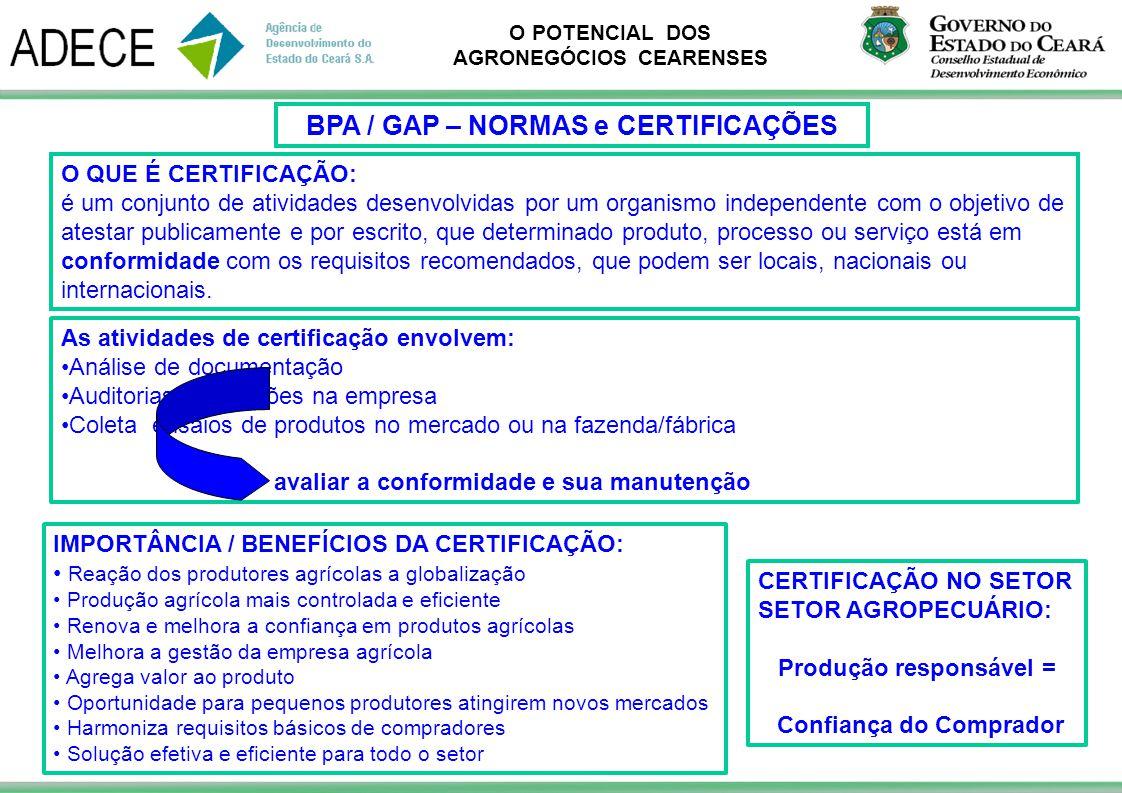 BPA / GAP – NORMAS e CERTIFICAÇÕES Produção responsável =