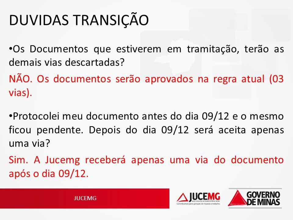DUVIDAS TRANSIÇÃO Os Documentos que estiverem em tramitação, terão as demais vias descartadas