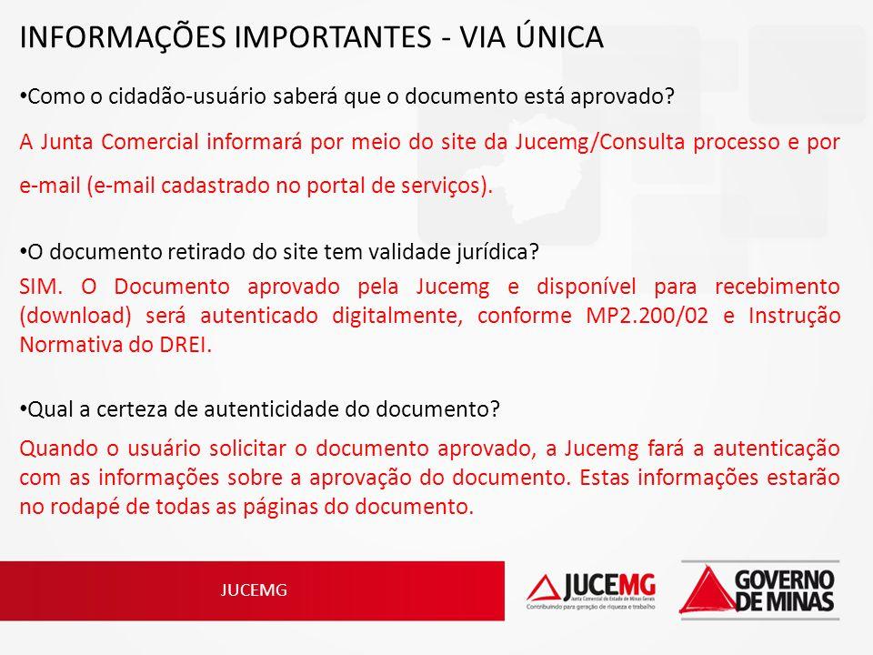 INFORMAÇÕES IMPORTANTES - VIA ÚNICA