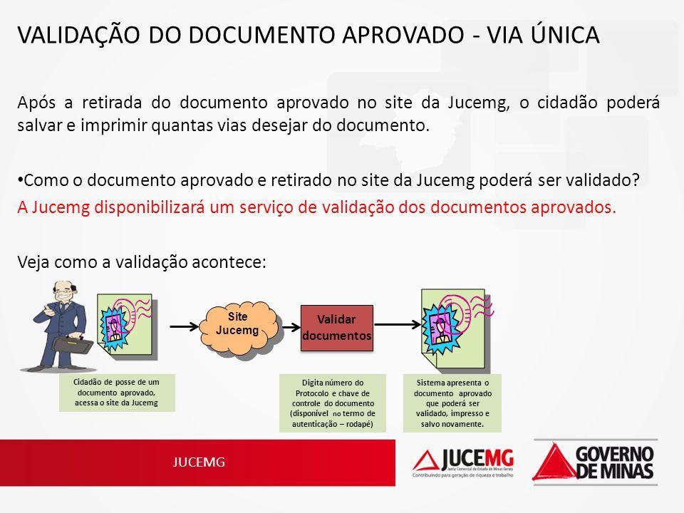 Cidadão de posse de um documento aprovado, acessa o site da Jucemg