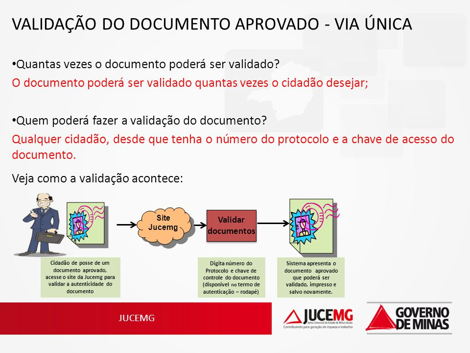 VALIDAÇÃO DO DOCUMENTO APROVADO - VIA ÚNICA