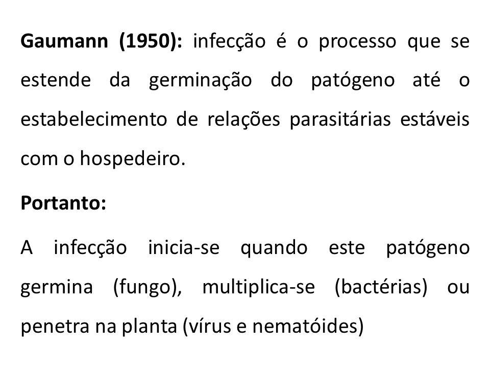 Gaumann (1950): infecção é o processo que se estende da germinação do patógeno até o estabelecimento de relações parasitárias estáveis com o hospedeiro.