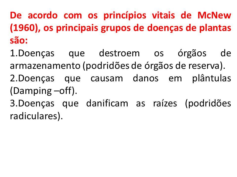 De acordo com os princípios vitais de McNew (1960), os principais grupos de doenças de plantas são: