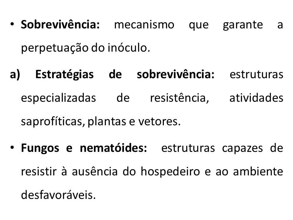 Sobrevivência: mecanismo que garante a perpetuação do inóculo.