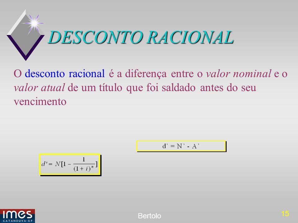 DESCONTO RACIONAL O desconto racional é a diferença entre o valor nominal e o valor atual de um título que foi saldado antes do seu vencimento.