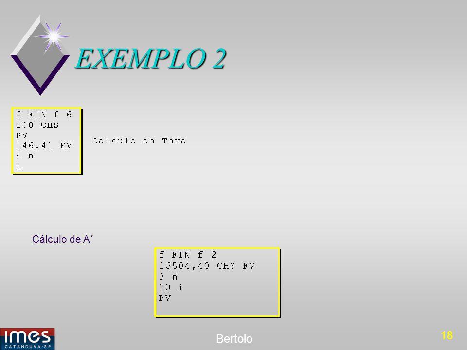 EXEMPLO 2 Cálculo de A´