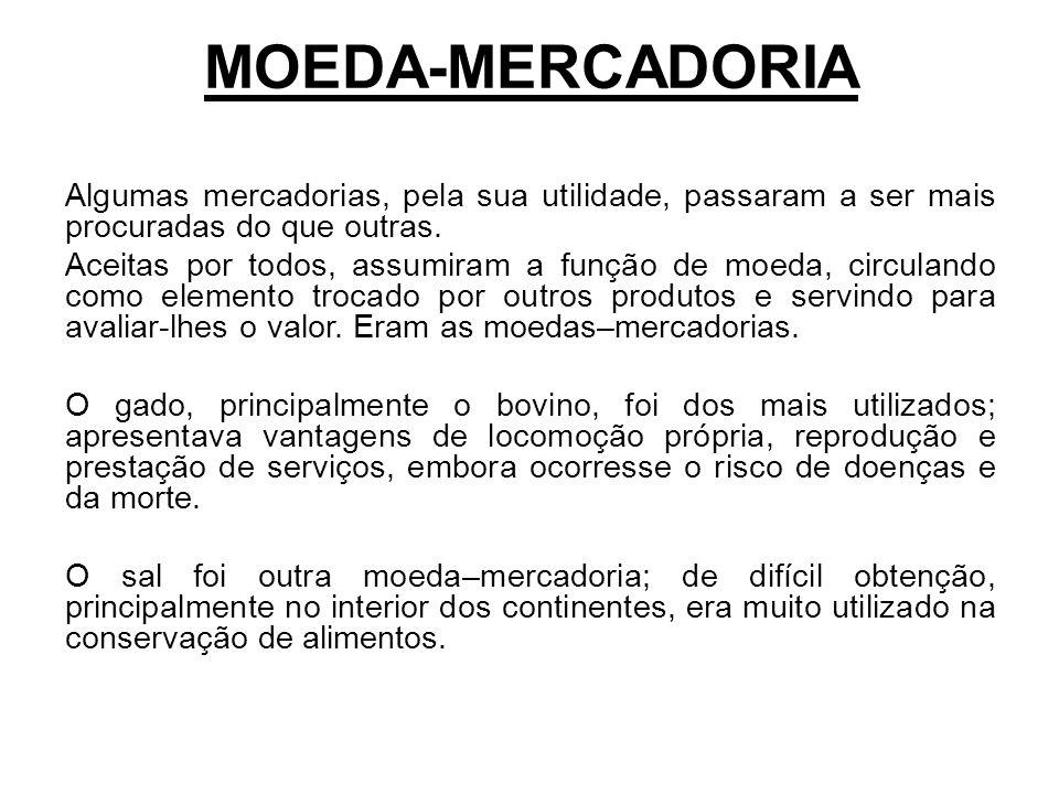 MOEDA-MERCADORIA Algumas mercadorias, pela sua utilidade, passaram a ser mais procuradas do que outras.