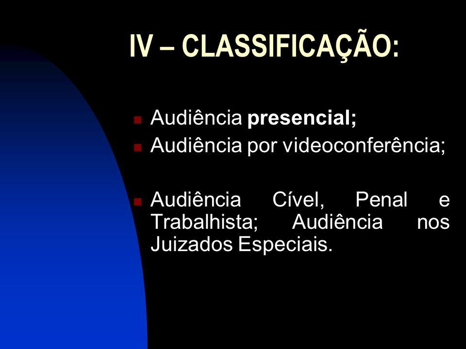 IV – CLASSIFICAÇÃO: Audiência presencial;