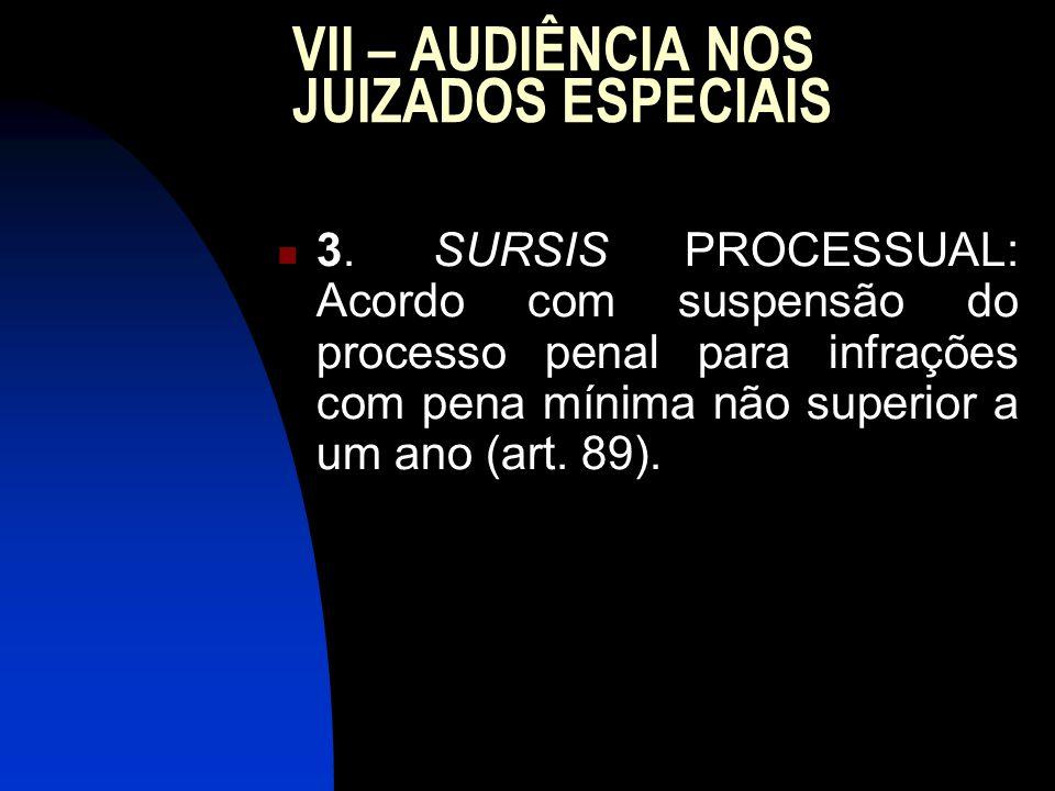 VII – AUDIÊNCIA NOS JUIZADOS ESPECIAIS