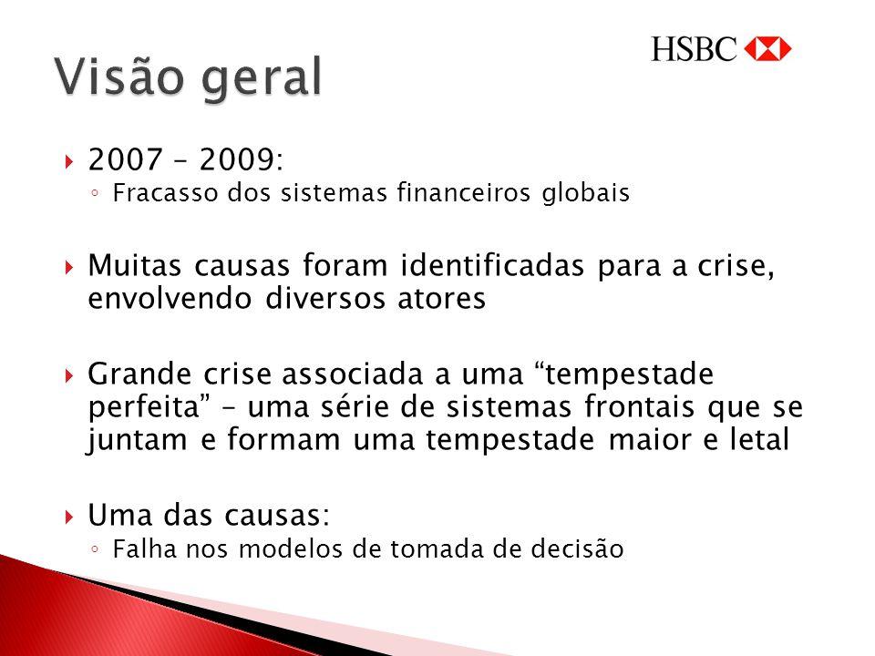 Visão geral 2007 – 2009: Fracasso dos sistemas financeiros globais. Muitas causas foram identificadas para a crise, envolvendo diversos atores.