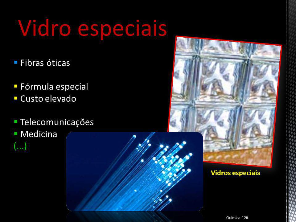 Vidro especiais Fibras óticas Fórmula especial Custo elevado