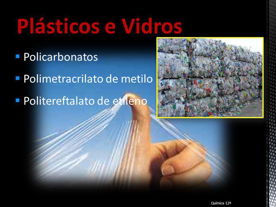 Plásticos e Vidros Policarbonatos Polimetracrilato de metilo
