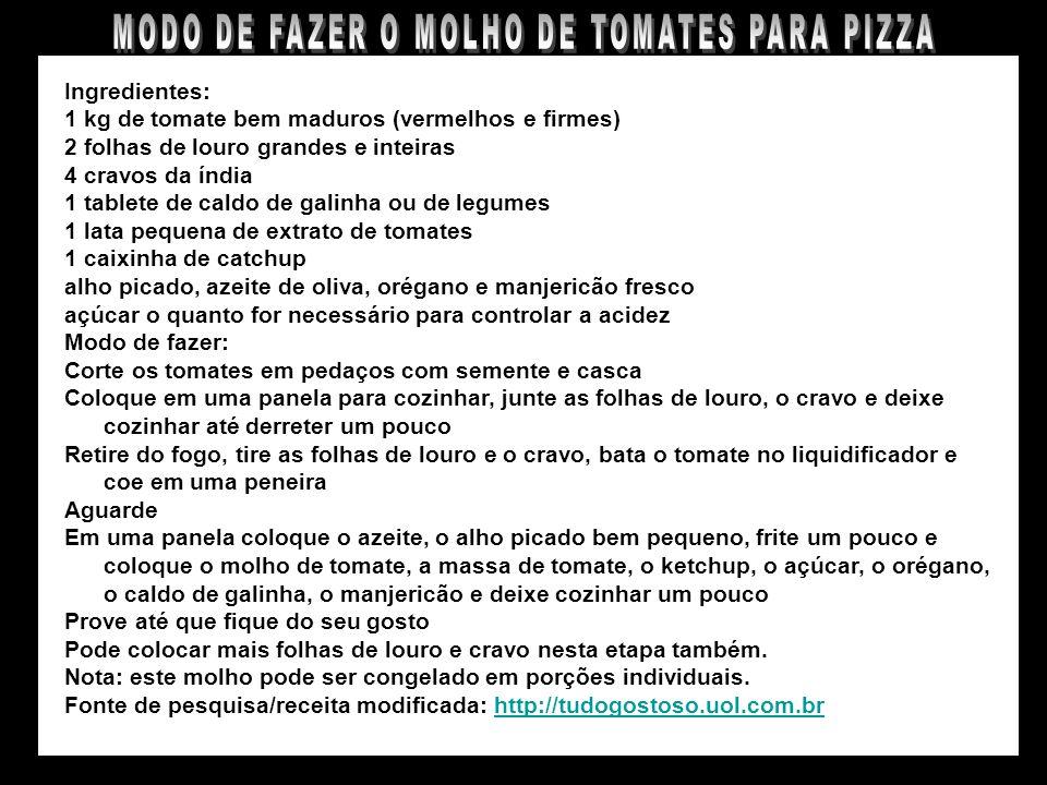 MODO DE FAZER O MOLHO DE TOMATES PARA PIZZA