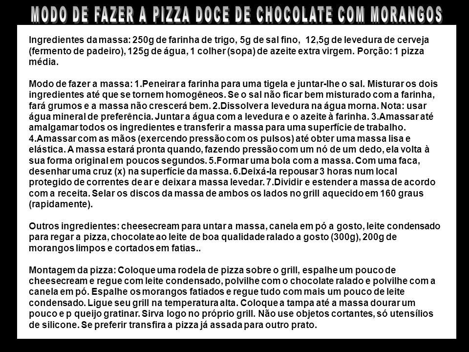 MODO DE FAZER A PIZZA DOCE DE CHOCOLATE COM MORANGOS