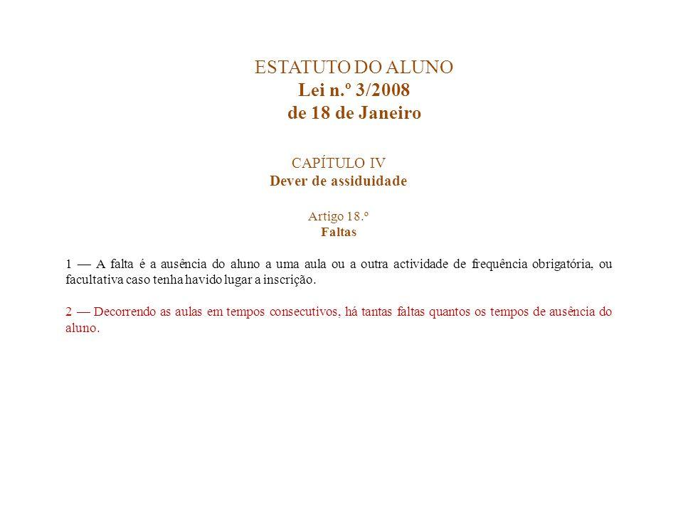 ESTATUTO DO ALUNO Lei n.º 3/2008 de 18 de Janeiro