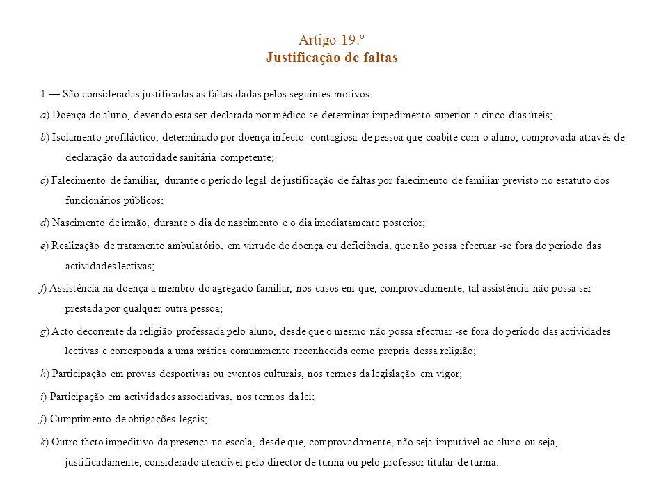 Artigo 19.º Justificação de faltas